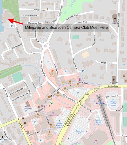 Map of Where Milngavie and Bearsden Camera club meet